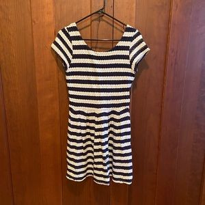 Navy and whit striped dress.
